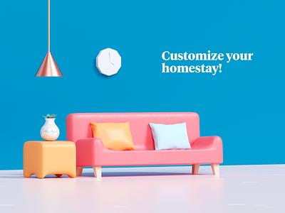 Home customization static version pillow customisation interior sofa house illustration