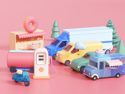 One-Stop Gasoline Station udhaya timeless shell donut car van tree gasoline truck illustration
