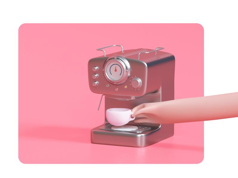 Coffee at Midday udhaya timeless hand maker espresso machine coffee cup mug coffee illustration