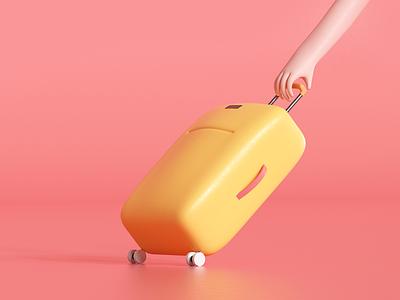 Suitcase handling udhaya timeless hotel luggage moving render illustration bag travel hand suitcase