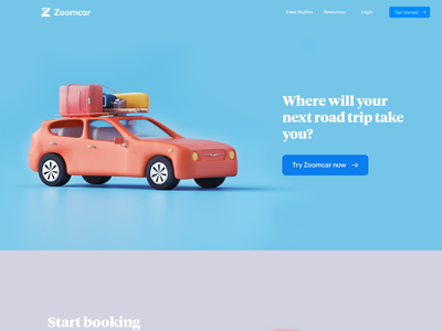 Car rental website design landing page vehicle sedan timeless packing luggage roadtrip ride rental car website illustration