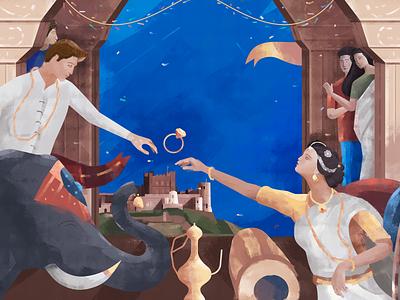 Matrimony poster design udhaya timeless hall elephant ring love wedding matrimony marriage art wall illustration