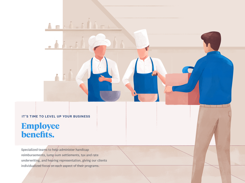 Employee benefits page web udhaya work benefits gift chef design payroll illustration