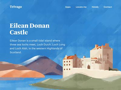 Eilean donan castle illustration timeless design europe heritage location tourism place tour vacation travel kingdom castle illustration