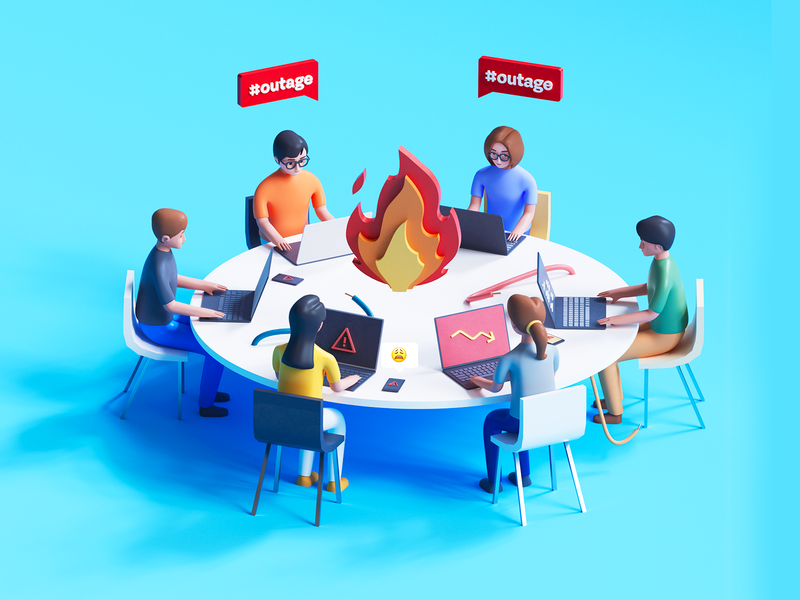 Firefight in war room environment table human cloud kubernetes alert server code developers brightscout design 3d illustration outage development