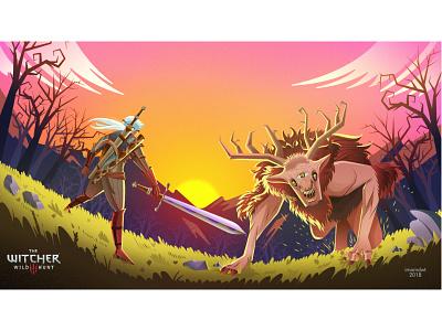 The Witcher 3: Wild Hunt affinity designer witcher 3 geralt of rivia fight landscape vector illustration baron downwarren fiend