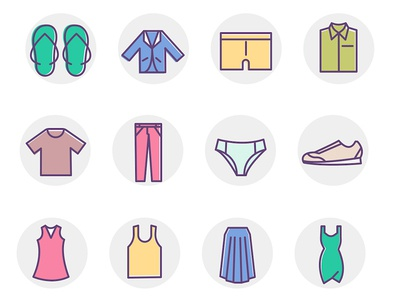 20 Clothing Color Icons Set