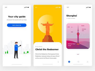 City Guide travel app travel illustration design ui app food ios minimal interface