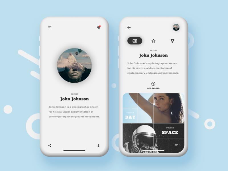 Minimalistic Social Networking Service UI mobile design minimalist portfolio artist photographer chat ui concept app ios