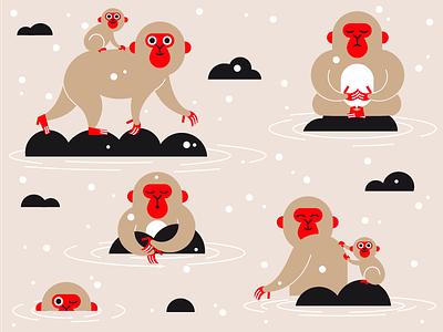 Snow monkeys vector onsen snow japan monkeys monkey illustration