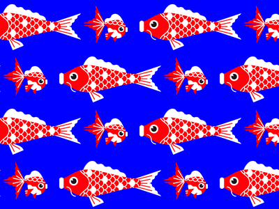 Koi and golden fish pattern golden fish flat carp fish japanese japan koi vector pattern illustration