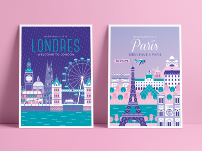London + Paris london eye eiffel tower london bridge bus love louvre vector illustration postcard paris london