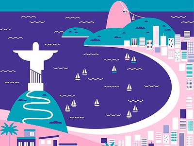 Rio de Janeiro rio de janeiro city beach vector flat illustration rio