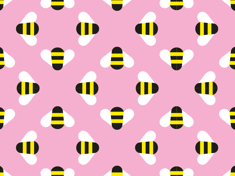 Bee Pattern pink bees vector illustration
