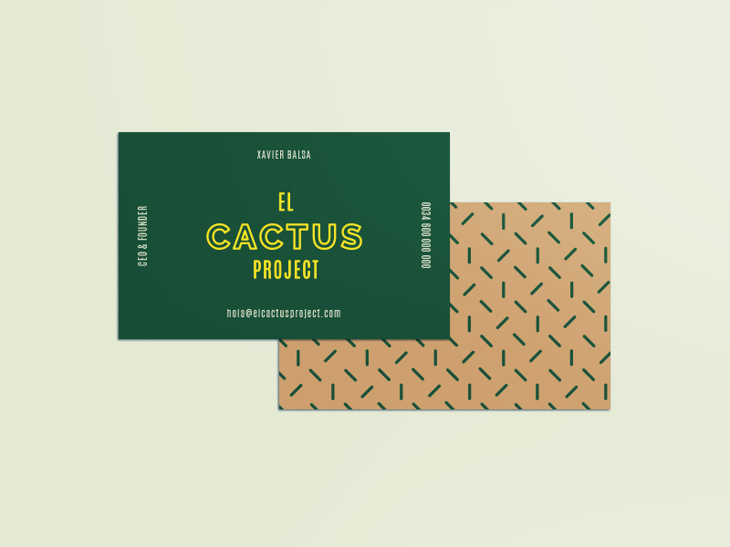 El Cactus Project business card cactus