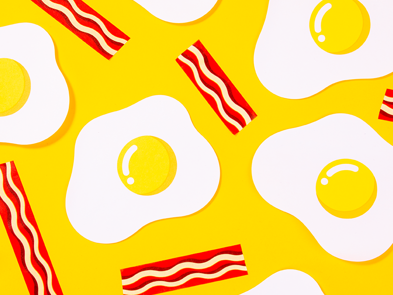 EGGCITING sticky notes and washi tape patten bacon egg stationery design