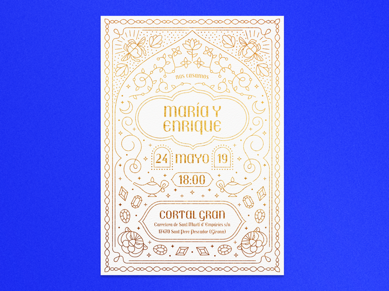 Aladdin's Wedding Invitation lamp gold aladdin invitation wedding invitation wedding stationery illustration vector