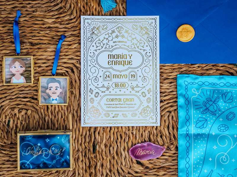 Aladdin's Wedding Statiorery illustration gold aladdin wedding design wedding invite wedding