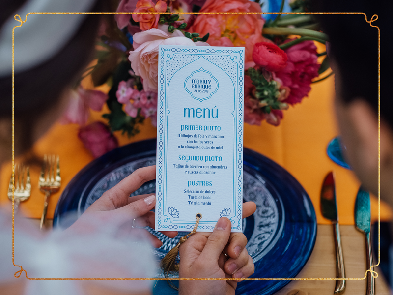 Aladdin's Wedding Menu menu design gold wedding stationery wedding aladdin menu stationery design