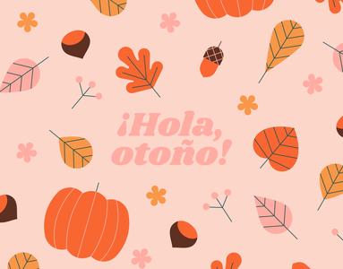 Hello Autumn! pumpkin leaves orange autumn vector pattern