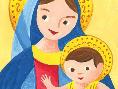 Madonna and Child first shot madonna and child debut mid-century storybook vintage christmas illustration