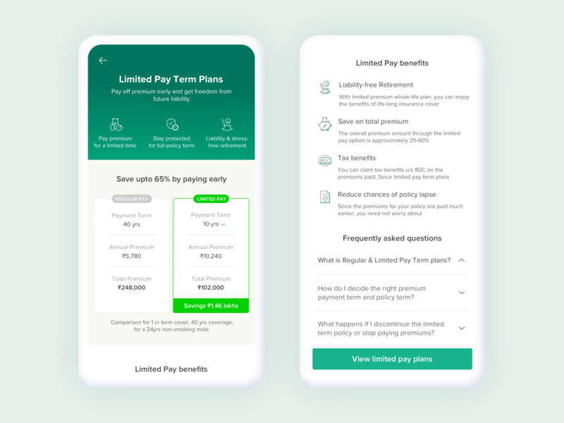 Term Insurance - Limited Pay pricing my plan uiux product page product design wealth marketing campaign landing page insurance