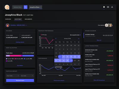 AdvisorDesktop - Client Profile Dash assetallocation transactions chart datepicker advisory dashboard