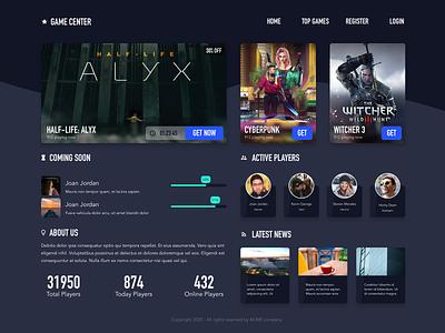 Game store UI site design store design ui design website design site dark ui store game