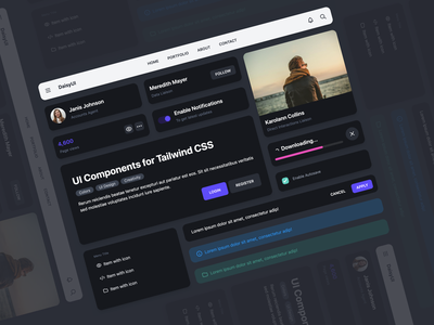 DaisyUI / Dark theme - UI Component for Tailwind CSS dark theme uidesign web design dark ui dark mode design system tailwindcss css ui library ui component daisyui