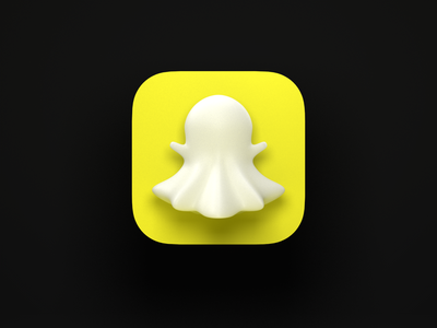Snapchat 3D big sur yellow white ghost app app icon cinema4d c4d render 3d icon snapchat