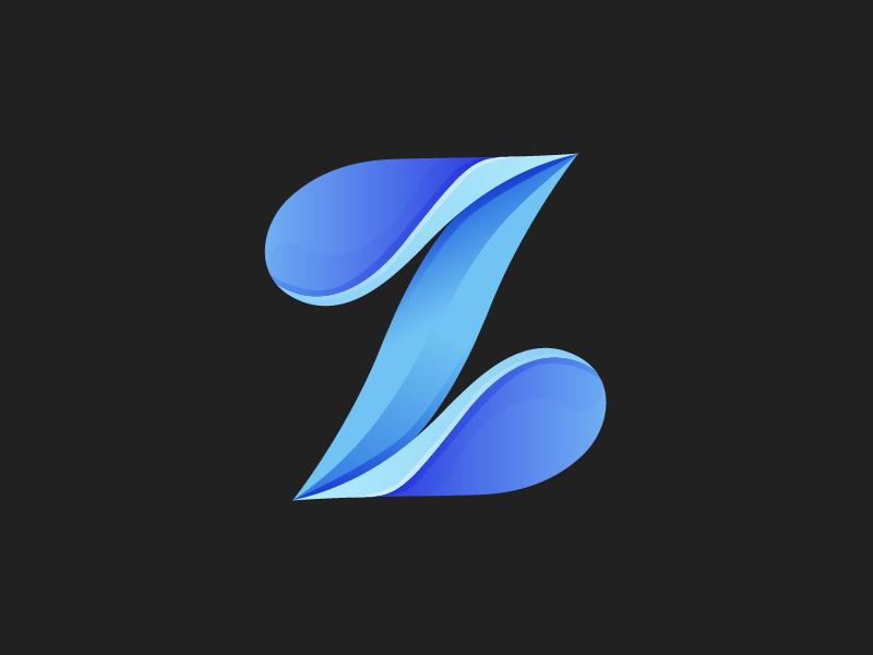 Z lettermark blue gradient logo lettermark z