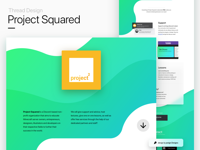 Thread Design for Project Squared frosted glass fluent bezier curves gradients design thread branding thread design
