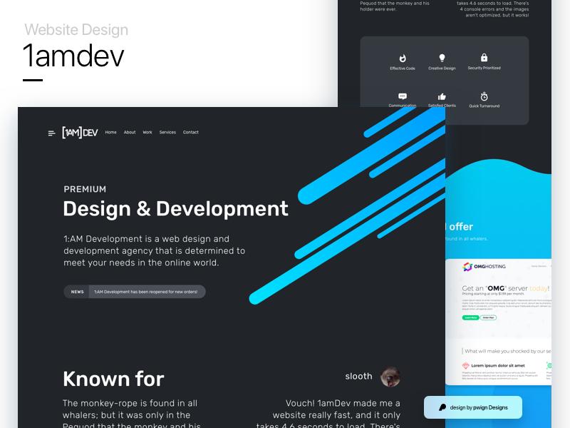 1amdev's website design mockup 1amdev gradient dark ux ui landing website