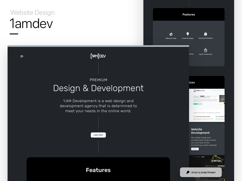 1amdev's website design mockup website ux ui landing gradient dark 1amdev