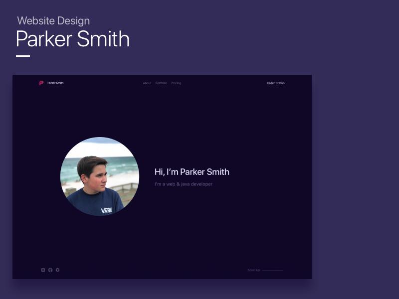 Parker Smith Website Design portfolio purple dark mockup website ui animation website mockup website design