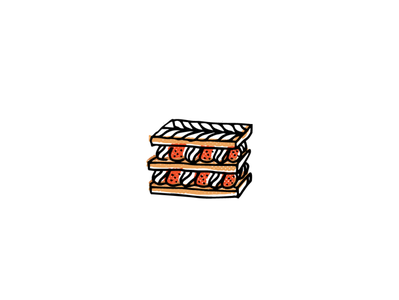 Mille Feuille pastry french food icon logo sketch branding illustration hand-drawn vector