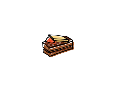 Chocolat Petit Four pastry french chocolate food icon sketch logo branding illustration hand-drawn vector