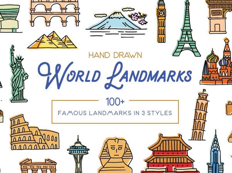 Hand Drawn World Landmarks landmarks architecture icons design icon sketch logo branding illustration hand-drawn vector