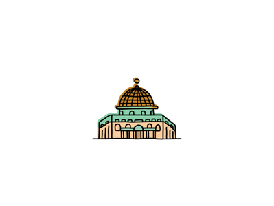 Al Aqsa Mosque building landmarks icons icon sketch logo branding illustration hand-drawn vector