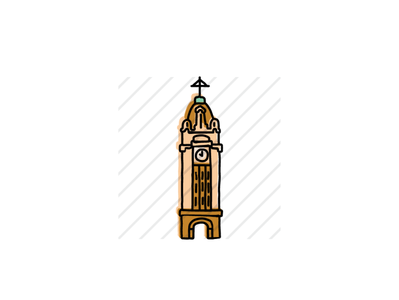 Aloha Tower landmarks icons design icon sketch logo branding illustration hand-drawn vector