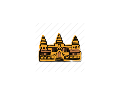Angkor Wat buildings landmarks icons design icon sketch logo branding illustration hand-drawn vector