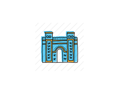 Ishtar Gate, Babylon icons icon sketch logo branding illustration hand-drawn vector
