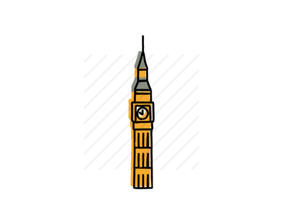 Big Ben architecture icons design icon sketch logo branding illustration hand-drawn vector