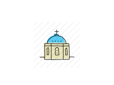 Blue Domed Church, Santorini landmarks icons design icon sketch logo branding illustration hand-drawn vector