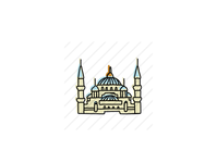 Blue Mosque, Istanbul typography icons design icon sketch logo branding illustration hand-drawn vector