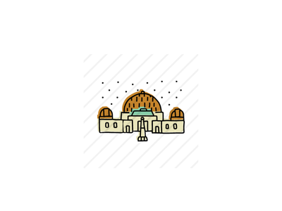 Griffith Observatory architecture design icon sketch logo branding illustration hand-drawn vector