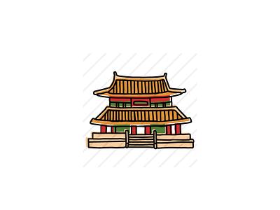 Gyeongbokgung Palace, Seoul, South Korea icon sketch logo branding illustration hand-drawn vector