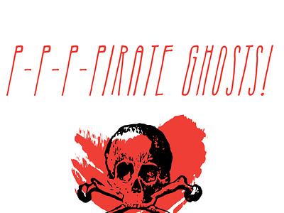 Pirate Ghosts halloween typography sketch logo vector