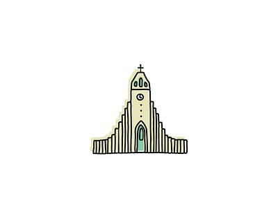 Hallgrímskirkja, Iceland landmarks icons design icon sketch logo branding illustration hand-drawn vector