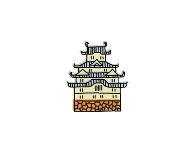 Himeji Castle, Japan japanese landmarks icons icon sketch logo illustration hand-drawn vector